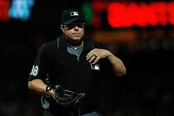 SAN FRANCISCO, CA - AUGUST 13: MLB umpire Doug Eddings #88 stands on the field during the eighth inning between the San Francisco Giants and the Oakland Athletics at Oracle Park on August 13, 2019 in San Francisco, California. The San Francisco Giants defeated the Oakland Athletics 3-2. (Photo by Jason O. Watson/Getty Images) *** Local Caption *** Doug Eddings