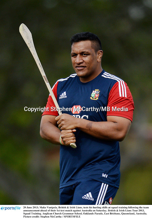 20 June 2013; Mako Vunipola, British & Irish Lions, tests his hurling skills at squad training following the team announcement ahead of their 1st test match against Australia on Saturday. British & Irish Lions Tour 2013, Squad Training. Anglican Church Grammar School, Oaklands Parade, East Brisbane, Queensland, Australia. Picture credit: Stephen McCarthy / SPORTSFILE