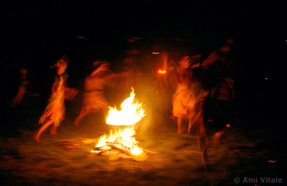 Bhutanese dancers perform in the Jampey Lhakhang festival and later a fire is lit and villagers run underneath it as they believe it will wash away all their sins in Jakar, Bhumtang district October 18, 2005. The festival is a traditional Buddist ceremony performed every year and begins with a dance of the black hats. The Black hats perform a purification and blessing of the ground with alcohol and grains and then they dance to chase away evil influences. (Ami Vitale)