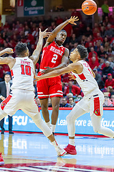 NORMAL, IL - February 16: Defenders Phil Fayne and Zach Copeland force a pass by LuQman Lundy during a college basketball game between the ISU Redbirds and the Bradley Braves on February 16 2019 at Redbird Arena in Normal, IL. (Photo by Alan Look)