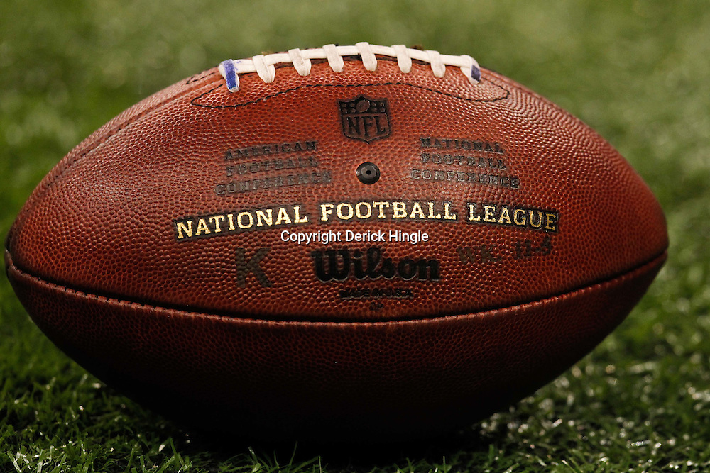 December 4, 2011; New Orleans, LA, USA; A detailed view of a NFL football during a game between the New Orleans Saints and the Detroit Lions at the Mercedes-Benz Superdome. The Saints defeated the Lions 31-17. Mandatory Credit: Derick E. Hingle-US PRESSWIRE