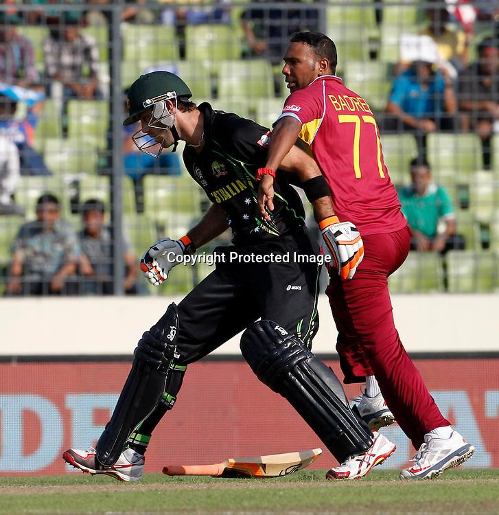 Glenn Maxwell and Samuel Badree clash - West Indies v Australia, ICC World Twenty20, Bangladesh 2014. 28 March 2014, Sher-e-Bangla National Cricket Stadium, Mirpur. Photo: Shamsul hoque Tanku/www.photosport.co.nz