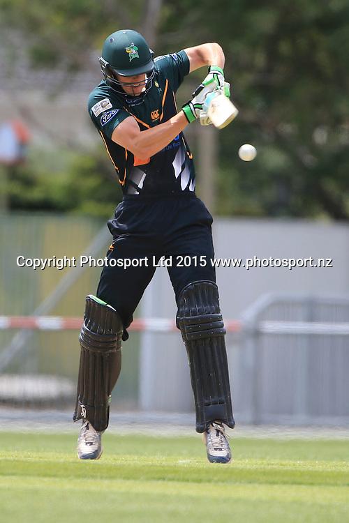 CD's Josh Clarkson plays a shot. Ford Trophy cricket, Central Stags v Canterbury, McLean Park, Napier, New Zealand. Sunday 27 December, 2015. Copyright photo: John Cowpland / www.photosport.nz