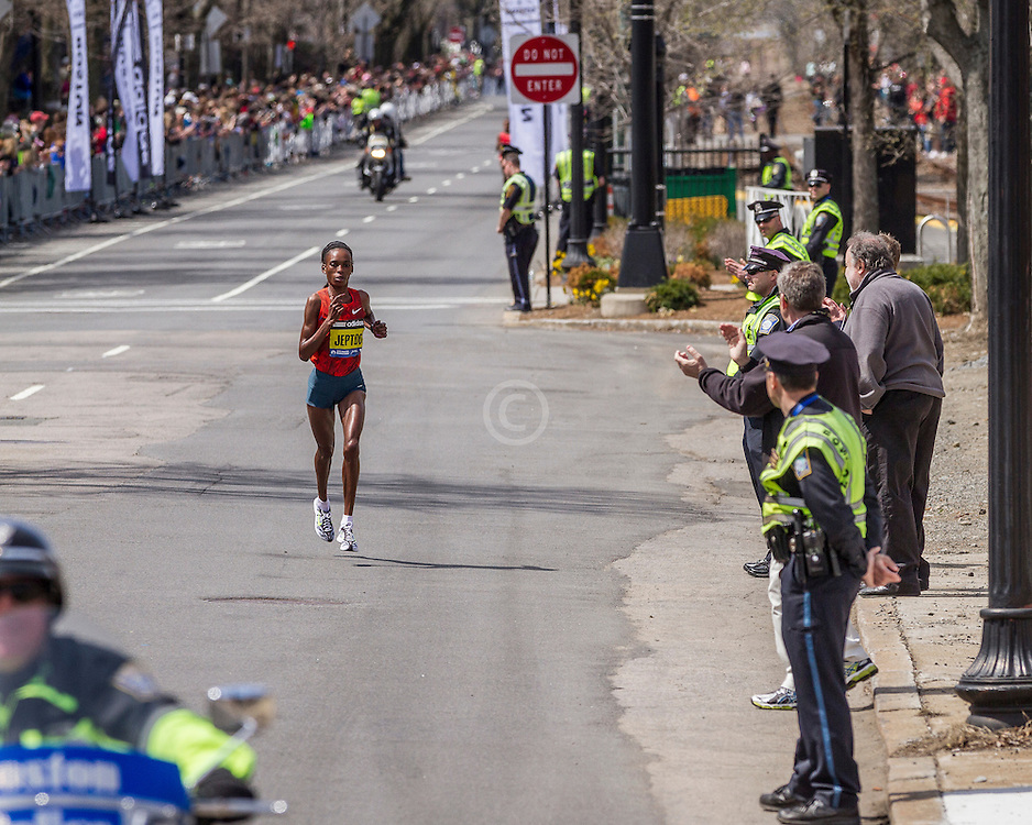 2014 Boston Marathon: winner Rita Jeptoo, Kenya after surging to lead near mile 23