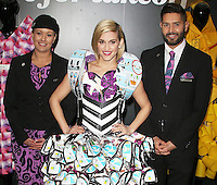 Ashley Roberts takes fashion to new heights in a dress made entirley from airline safety cards for Air New Zealand's #RunwaytoLA, Waterloo Station, London UK, 18 March 2016, Photo by Brett D. Cove
