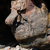 A natural rock formation that resembles a face along the Oregon coast