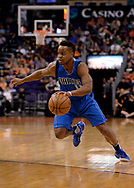 Apr 9, 2017; Phoenix, AZ, USA; Dallas Mavericks guard Yogi Ferrell (11) handles the ball against the Phoenix Suns in the first half of the NBA game at Talking Stick Resort Arena. Mandatory Credit: Jennifer Stewart-USA TODAY Sports