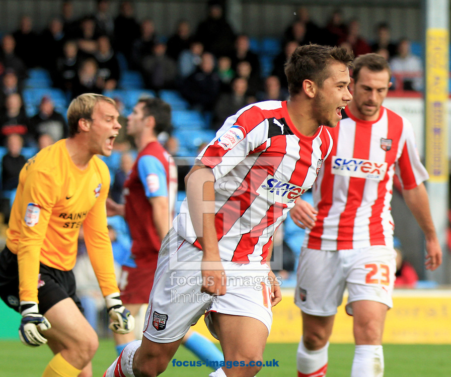 Picture by Richard Gould/Focus Images Ltd +447814 482222.13/10/2012.Harry Forrester celebrates scoring his side's first goal during the npower League 1 match at Glanford Park, Scunthorpe.