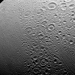 Nov. 27, 2016 - Space - The north polar area of Enceladus (313 miles across) is heavily cratered, an indication that the surface has not been renewed since quite long ago. But the south polar region shows signs of intense geologic activity, most prominently focused around the long fractures known as 'tiger stripes' that spray gas and tiny particles from the moon. This view looks toward the leading side of Enceladus. The image was taken in visible light with the Cassini spacecraft narrow-angle camera on Nov. 27, 2016. The view was acquired at a distance of approximately 20,000 miles from Enceladus and at a Sun-Enceladus-spacecraft, or phase, angle of 85 degrees. (Credit Image: © ESA/NASA via ZUMA Wire/ZUMAPRESS.com)