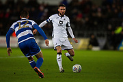 Swansea City midfielder Matt Grimes (8) is challenged by Queens Park Rangers midfielder Dominic Ball (12) during the EFL Sky Bet Championship match between Swansea City and Queens Park Rangers at the Liberty Stadium, Swansea, Wales on 11 February 2020.