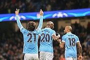 Manchester City midfielder David Silva  scores during the Champions League match between Manchester City and Borussia Monchengladbach at the Etihad Stadium, Manchester, England on 8 December 2015. Photo by Simon Davies.