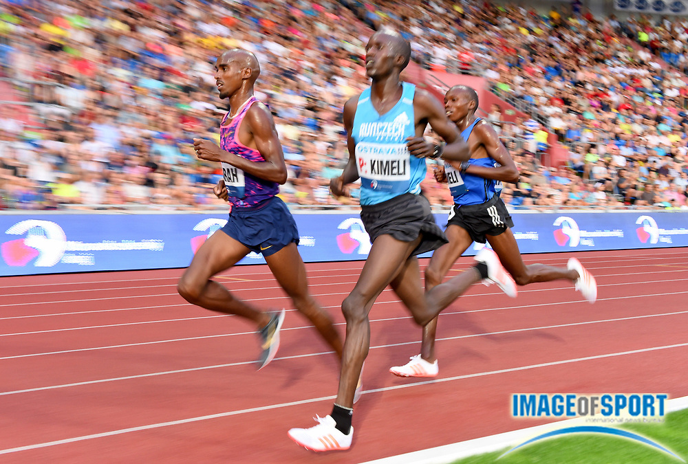Mo Farah aka Mohamed Farah (GBR), Bernard Kimeli (KEN) and Mathew Kimeli (KEN) lead the 10,000m in the 56th Ostrava Golden Spike in an IAAF World Challenge meeting at Mestky Stadion in Ostrava, Czech Republic on Wednesday, June 28, 20017. Farah won in 27:12.09. Mathew Kimeli was second in 27:14.43 and Bernard Kimeli was fifth in 28:09.46. (Jiro Mochizuki/Image of Sport)