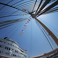 Nautical flags spell out a message of freedom from the Promenade deck of the Queen Mary.