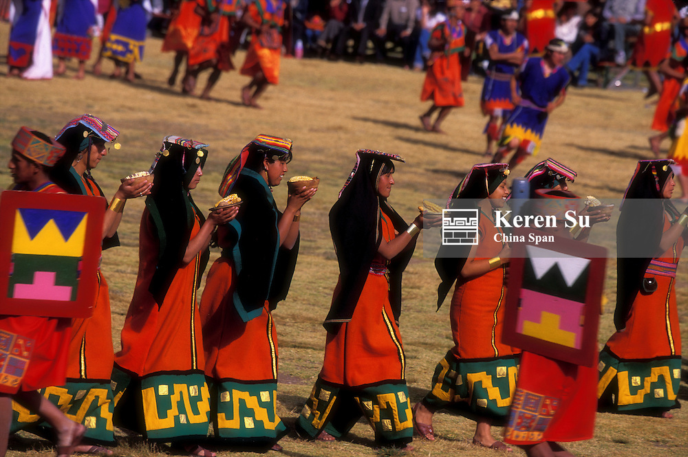 Indian girls at Inti Raymi, Inca festival celebrations winter solstice, Sacsayhuaman, Cuzco, Peru