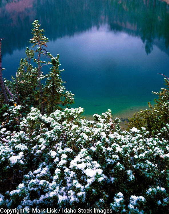 Idaho. Snow in September at Edith Lake in the Sawtooth Mountains.