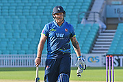 Matt Coles (Kent) last man out during the Royal London 1 Day Cup match between Surrey County Cricket Club and Kent County Cricket Club at the Kia Oval, Kennington, United Kingdom on 12 May 2017. Photo by Jon Bromley.