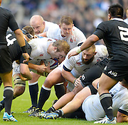 Twickenham, United Kingdom, England's forwards, working away at the ruck,  Joe LAUNCHBURY, Dylan HARTLEY and Joe MARLER, during the 2013 QBE  AutumnRugby International, England vs New Zealand, played  Saturday  16/11/2013 at the RFU Stadium Twickenham,<br /> England. [Mandatory Credit: Peter Spurrier/Intersport<br /> Images}