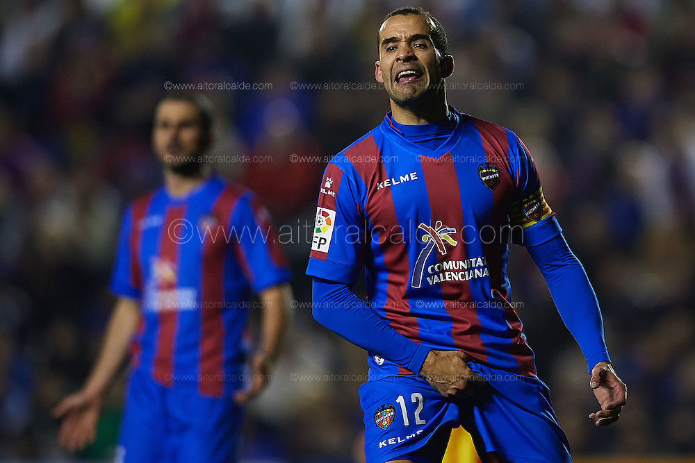 VALENCIA, SPAIN - JANUARY 2: Juanfran Garcia of Levante UD reacts during the SM Copa del Rey between Levante UD and FC Barcelona de at the Ciutat de Valencia stadium January 22, 2014 in Valencia, Spain. (Photo by Aitor Alcalde).