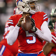 Nov 12, 2015; East Rutherford, NJ, USA;  Buffalo Bills quarterback Tyrod Taylor (5) throws the ball in the 1st quarter at MetLife Stadium. Mandatory Credit: William Hauser-USA TODAY Sports
