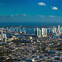 Panoramic aerial of downtown Miami showing from NE 36th Street south to Brickell Avenue. This version is watermarked, contact us to license and clean version.