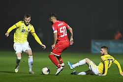 Alexandru Cretu of Maribor and Nemanja Jaksic of Aluminij during football match between NK Aluminij and NK Maribor in 18th Round of Prva liga Telekom Slovenije 2019/20, on November 24, 2019 in Sportni park Aluminij, Kidricevo Slovenia. Photo by Milos Vujinovic / Sportida