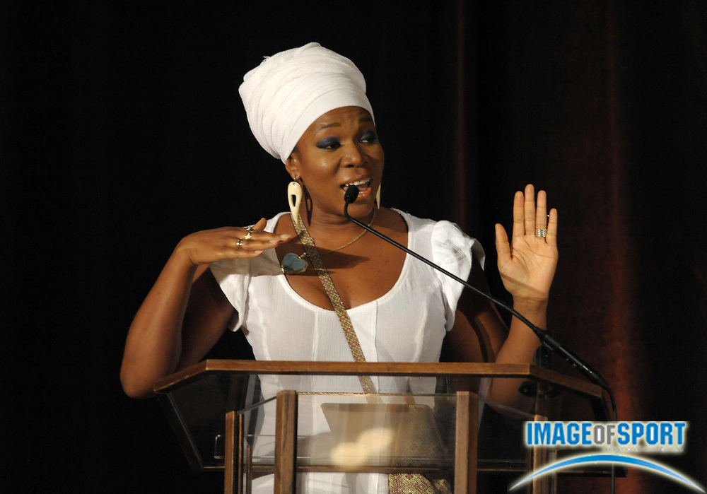 Mar 30, 2012; Austin, TX, USA; Recording artist India Arie speaks at the 6th annual Minority Mentorship Symposium at the AT&T Executive Education and Conference Center.