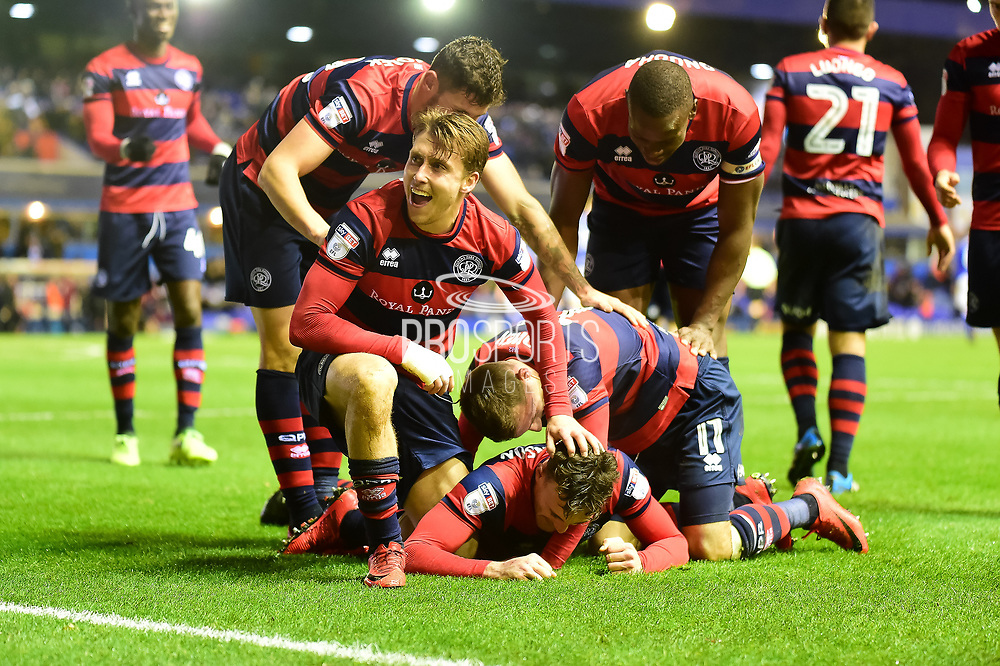 The QPR players  celebrate 1-2 during the EFL Sky Bet Championship match between Birmingham City and Queens Park Rangers at St Andrews, Birmingham, England on 16 December 2017. Photo by Dennis Goodwin.