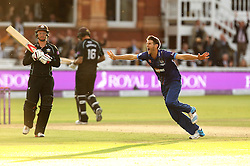 Gloucestershire's David Payne celebrates taking the winning wicket to seal The Royal London One Day Trophy - Mandatory byline: Robbie Stephenson/JMP - 07966 386802 - 19/09/2015 - Cricket - Lord's Cricket Ground - London, England - Gloucestershire CCC v Surrey CCC - Royal London One-Day Cup Final