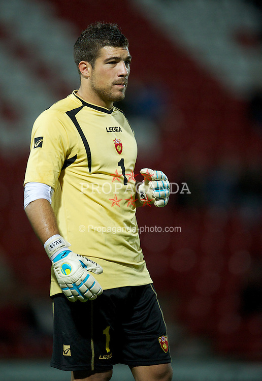 WREXHAM, WALES - Saturday, October 8, 2011: Montenegro's goalkeeper Pavel Velimirovic in action against Wales during the UEFA Under-21 Championship Qualifying Group 3 match at the Racecourse Ground. (Pic by David Rawcliffe/Propaganda)