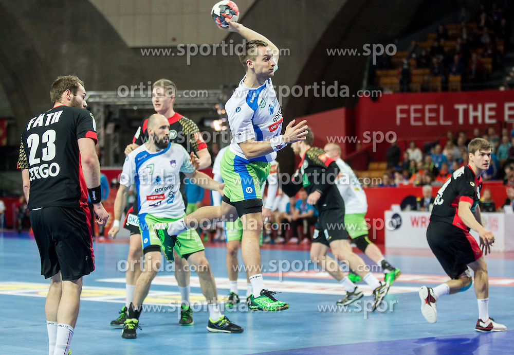 Gasper Marguc of Slovenia during handball match between National teams of Germany and Slovenia on Day 6 in Preliminary Round of Men's EHF EURO 2016, on January 20, 2016 in Centennial Hall, Wroclaw, Poland. Photo by Vid Ponikvar / Sportida