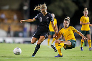 Rosie White defends as Steph Catley gets a pass away during the Cup of Nations Women's Football match, New Zealand Football Ferns v Matildas, Leichhardt Oval, Thursday 28th Feb 2019. Copyright Photo: David Neilson / www.photosport.nz