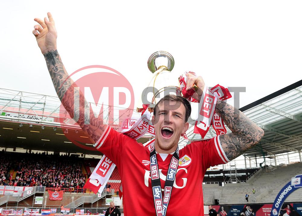 Bristol City's Aden Flint holds the Sky Bet League one Trophy  - Photo mandatory by-line: Joe Meredith/JMP - Mobile: 07966 386802 - 03/05/2015 - SPORT - Football - Bristol - Ashton Gate - Bristol City v Walsall - Sky Bet League One
