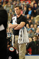 KELOWNA, CANADA, OCTOBER 11: Jeff Thorburn, athletic therapist of the Kelowna Rockets stands on the bench as the Medicine Hat Tigers visited the Kelowna Rockets on October 11, 2011 at Prospera Place in Kelowna, British Columbia, Canada (Photo by Marissa Baecker/shootthebreeze.ca) *** Local Caption ***Jeff Thorburn;