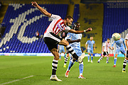 Exeter City defender Aaron Martin (5) on defensive duties during the EFL Cup match between Coventry City and Exeter City at the Trillion Trophy Stadium, Birmingham, England on 13 August 2019.
