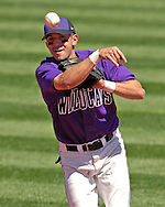 Kansas State second basemen Eddie Vasquez flips the ball to first for the out against Texas Tech at Tointon Stadium in  Manhattan, Kansas, April 1, 2007.  Kansas State defeated Texas Tech 7-3.