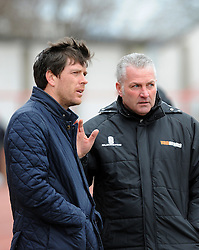 Bristol Rovers Manager, Darrell Clarke with Gateshead Manager, Gary Mills - Photo mandatory by-line: Neil Brookman/JMP - Mobile: 07966 386802 - 28/02/2015 - SPORT - Football - Gateshead - Gateshead International Stadium - Gateshead v Bristol Rovers - Vanarama Football Conference