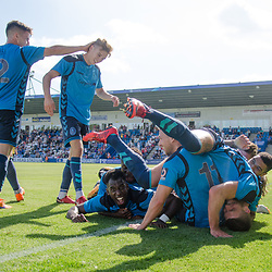 TELFORD COPYRIGHT MIKE SHERIDAN 4/8/2018 - GOAL. Amari Morgan Smith of AFC Telford scores during the National League North fixture between AFC Telford United and Southport FC.