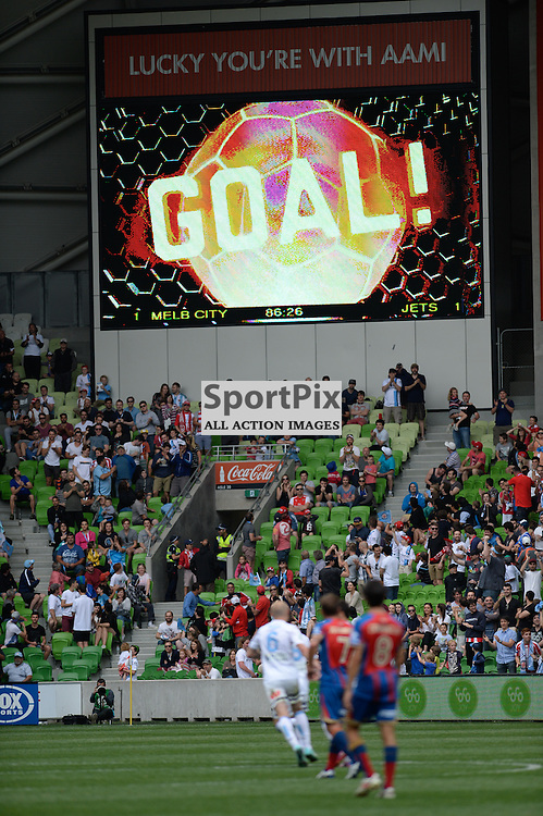 The Hyundai A-League match between Melbourne City &amp; Newcastle Jets held at AAMI Park, Melbourne, Victoria on 19th October 2014.<br /> MARK AVELLINO | SportPix.org.uk