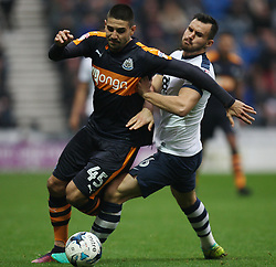 Aleksandar Mitrovic of Newcastle United (L) and Greg Cunningham of Preston North End in action - Mandatory by-line: Jack Phillips/JMP - 29/10/2016 - FOOTBALL - Deepdale - Preston, England - Preston North End v Newcastle United - EFL Championship