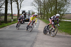 Team Sunweb riders lean into a sharp corner during Stage 2 of the Healthy Ageing Tour - a 19.6 km team time trial, starting and finishing in Baflo on April 6, 2017, in Groeningen, Netherlands.