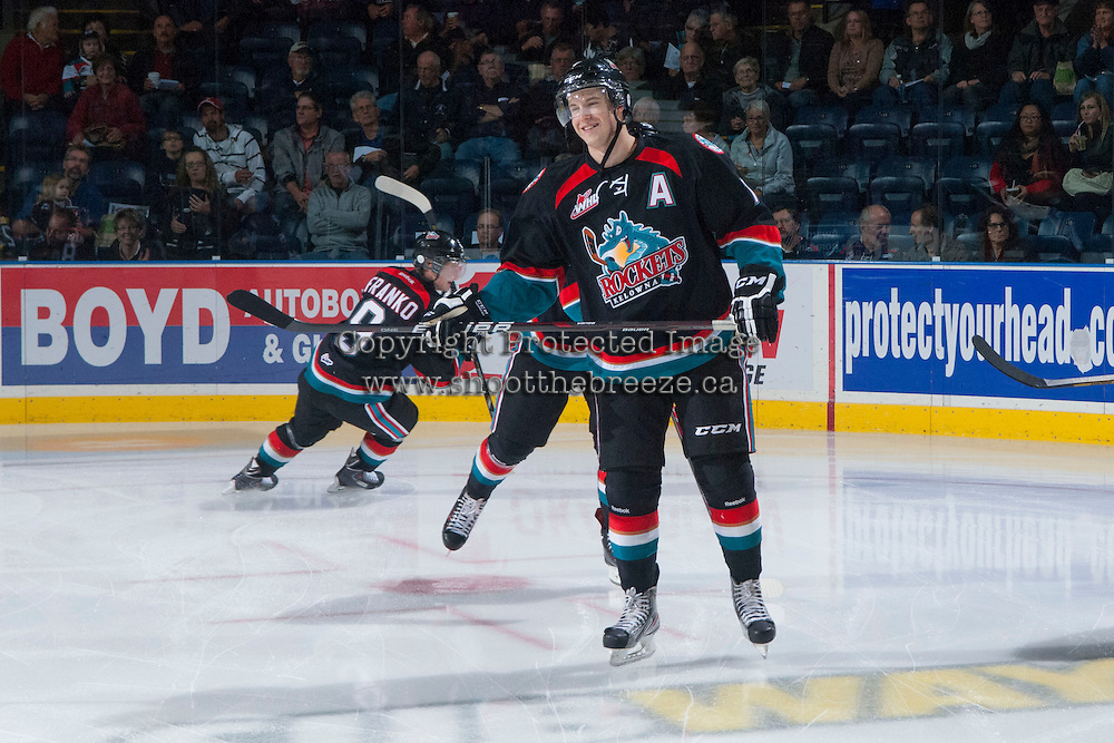 KELOWNA, CANADA - SEPTEMBER 28:  Damon Severson #7 of the Kelowna Rockets skates on the ice against the Victoria Royals  at the Kelowna Rockets on September 28, 2013 at Prospera Place in Kelowna, British Columbia, Canada (Photo by Marissa Baecker/Shoot the Breeze) *** Local Caption ***