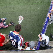 Scott Ratliff #2 of the Boston Cannons runs onto the field prior to the game at Harvard Stadium on July 19, 2014 in Boston, Massachusetts. (Photo by Elan Kawesch)