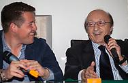 Luciano Moggi, ex dirigente sportivo e manager calcistico italiano, interviene ad una conferenza sul calcio a Palermo.