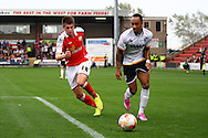 Port Vale&rsquo;s Byron Moore goes past Crewe Alexandre&rsquo;s Liam Nolan. Skybet football league one match, Crewe Alexandra v Port Vale at the Alexandra Stadium in Crewe on Saturday 13th Sept 2014.<br /> pic by Chris Stading, Andrew Orchard sports photography.