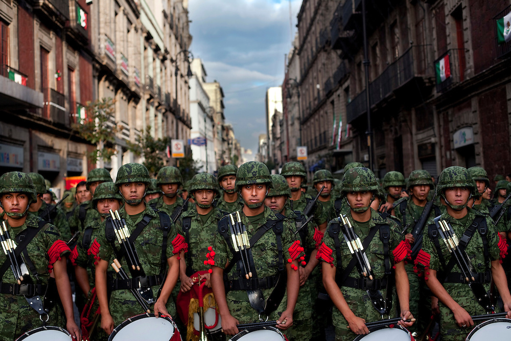 A band practices just before a parade for Mexico's bicentennial celebration, in Mexico City to mark the 200th anniversary of the uprising against Spanish rule which eventually led to their declaration of independence in 1821.