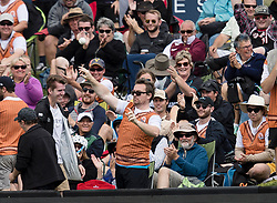 The winner of the Tui Catch A Million promotion throws the ball back onto the field after taking a one handed catch in the crowd during the third one day cricket international between New Zealand and Pakistan at the University of Otago Oval, Dunedin, New Zealand, Saturday, January 13, 2018. Credit:SNPA / Adam Binns ** NO ARCHIVING**