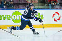 PENTICTON, CANADA - SEPTEMBER 16: Jack Roslovic #52 of Winnipeg Jets takes a slap shot against the # of Calgary Flames on September 16, 2016 at the South Okanagan Event Centre in Penticton, British Columbia, Canada.  (Photo by Marissa Baecker/Shoot the Breeze)  *** Local Caption *** Jack Roslovic;
