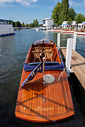 Henley on Thames, England, United Kingdom, 5th July 2019, Henley Royal Regatta, Umpires launches moored outside the Bridge Bar,   [© Peter SPURRIER/Intersport Image]<br /> <br /> 17:10:52 1919 - 2019, Royal Henley Peace Regatta Centenary,