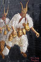 Italie, Sardaigne, peinture murale dans le village de Tinnura, Masque traditionel des Boes et Merdules.  // Italy, Sardinia, Mural painting at Tinnura. Boes and Merdules mask.