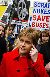 © Licensed to London News Pictures. 26/02/2016. London, UK. SNP leader NICOLA STURGEON attends a CND (Campaign for Nuclear Disarmament) rally in central London on February 27, 2016. Expected to attend the event are Labour leader Jeremy Corbyn,  leader of the SNP Nicola Sturgeon and Plaid Cymru's Leanne Wood. Photo credit: Ben Cawthra/LNP